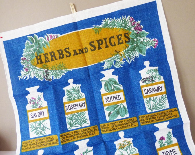 Vintage herbs and spices tea towel by Ulster of Ireland