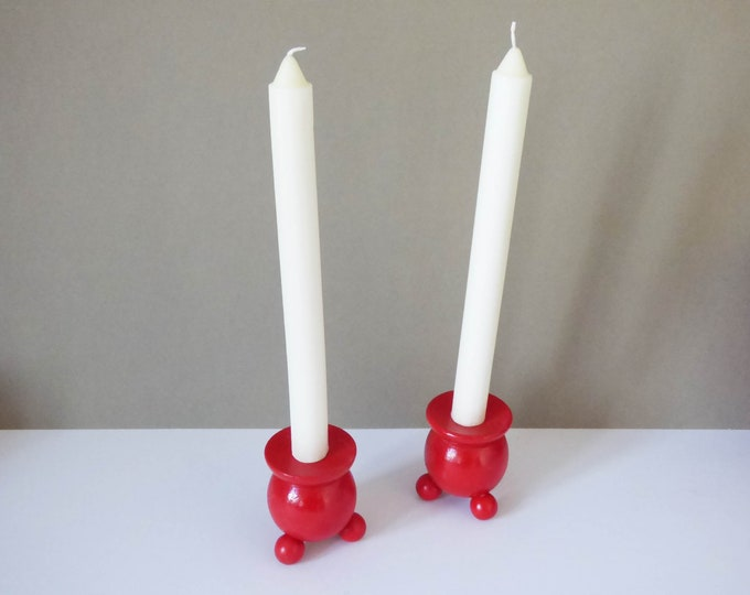 2 Wooden candle holders from Sweden