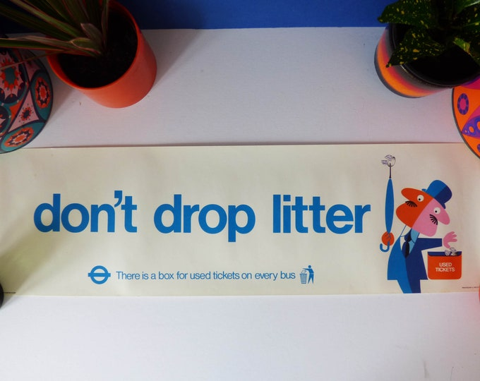 Harry Stevens Don't Drop Litter Banner Poster 1974