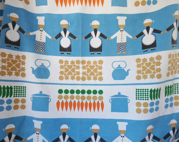 Vintage kitchen curtains Fabric Material MCM 110cm square each