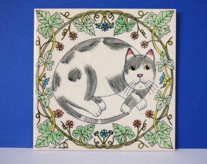 Vintage cat Tile by Linda Douglas