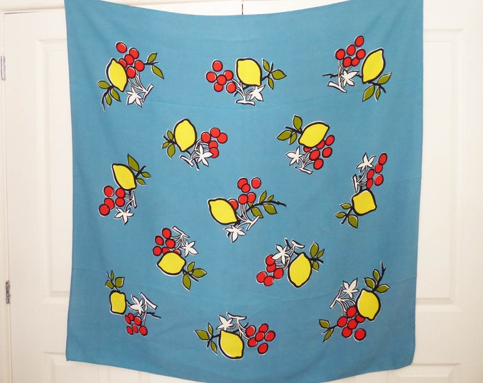 Tablecloth by Dunmoy floppy fruit design vintage retro