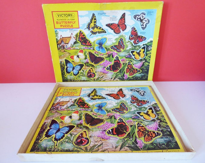 Vintage wooden butterfly tray puzzle