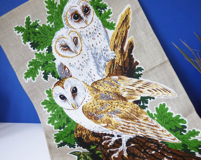 Owl tea towel vintage