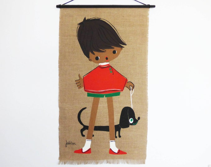 Girl and Dachshund screenprinted wall hanging Vintage