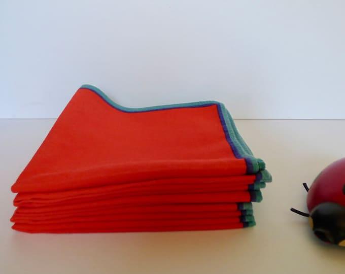 Napkins 6 Vintage bright red cotton