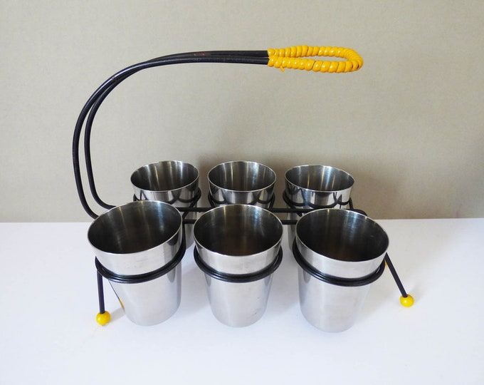 Atomic cup holder with Stainless steel beakers.