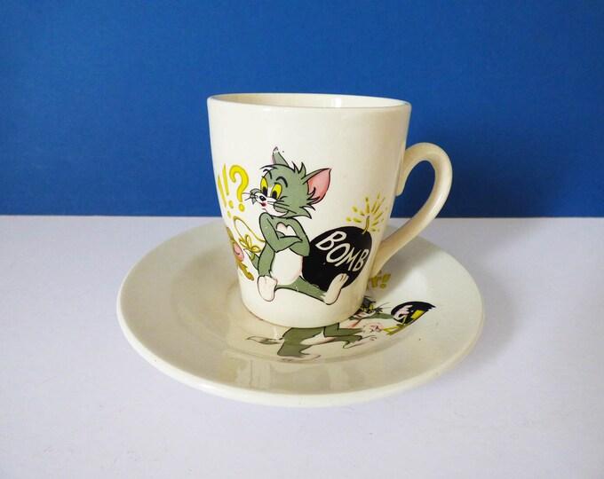 Tom and Jerry 1970 vintage plate and mug set