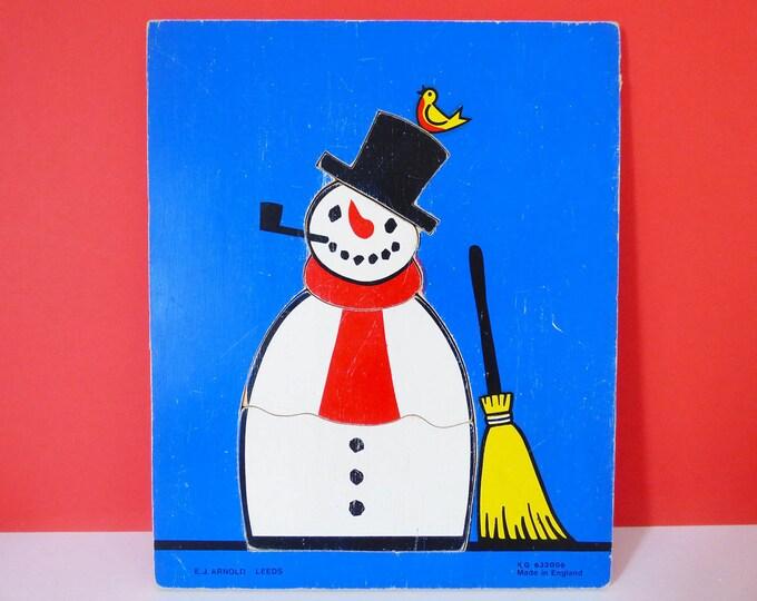 Snowman Puzzle Vintage wooden tray puzzle