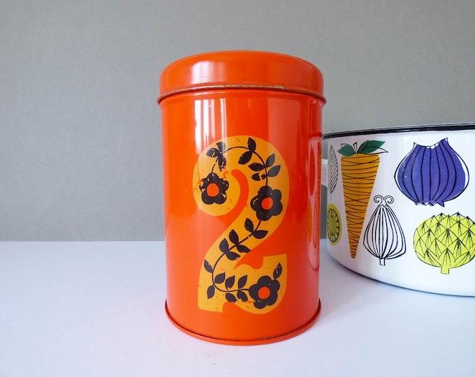 Vintage storage tin tea caddy flower power