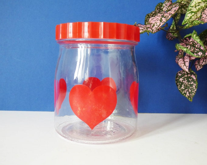 Heart Glass Storage Jar Vintage Retro