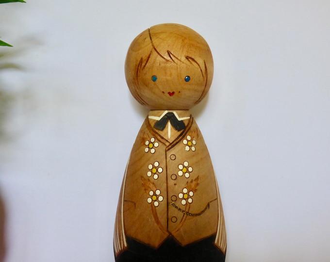 Wooden folk art doll wall decoration