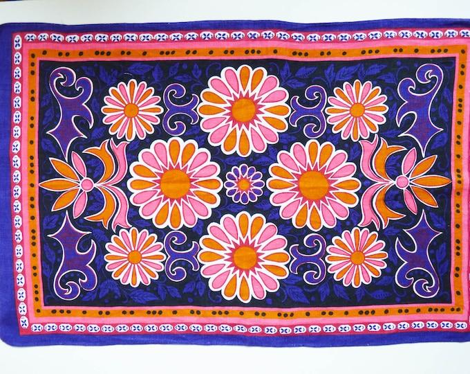 Vintage 1970's flower power tea towel