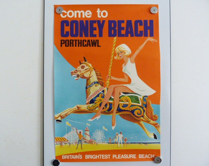Original poster, Come to Coney Beach porthcawl 1963 REDUCED