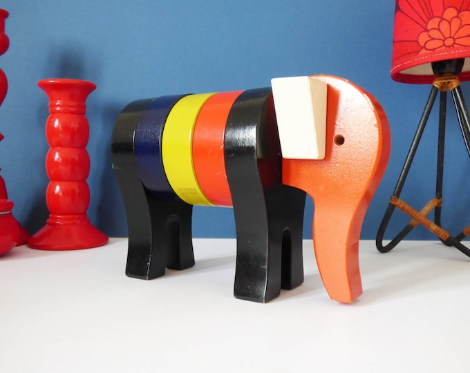 Vintage stacking elephant toy wooden