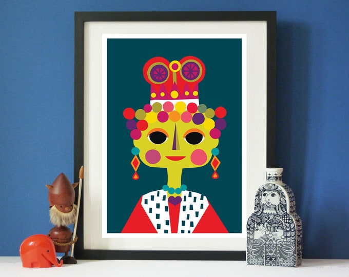 Queenie by Jay Kaye  A3 or A4 sized  print  Bright  Colourful print wall Art Fun