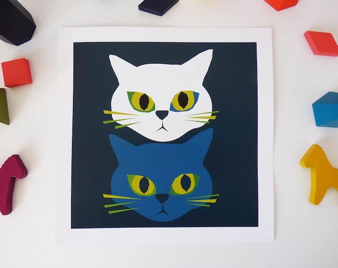 Moody Cats by Jay Kaye 21cm Sq print illustration print