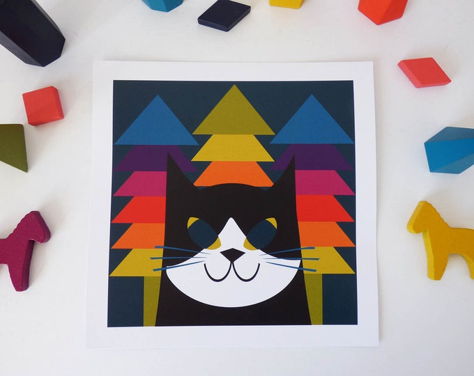 Rainbow Min by Jay Kaye  21cm Sq print cat kitty modernist Style