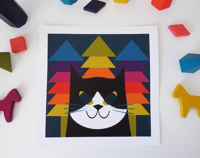 Rainbow Min by Jay Kaye  21cm Sq print cat kitty modernist Style