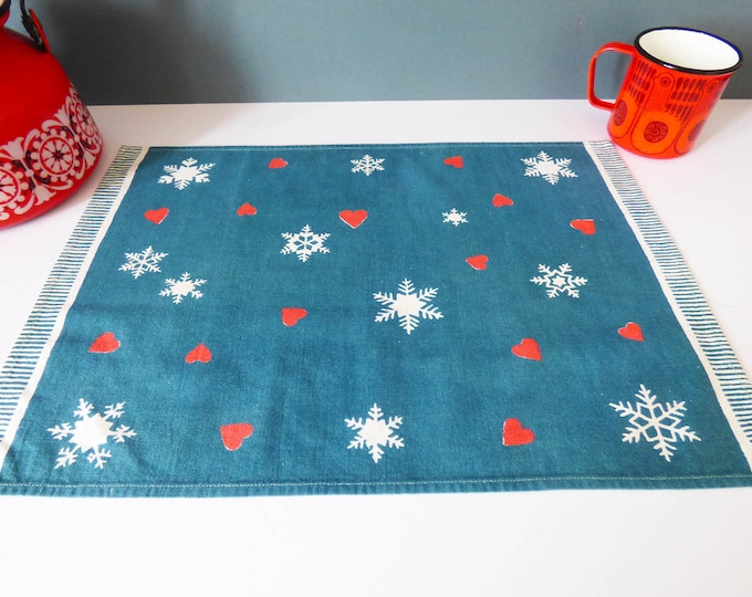 Vintage Scandinavian cotton printed place mat / wall hanging