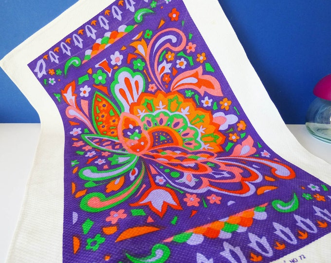 Vintage 1970's Persian Psychedelic tea towel