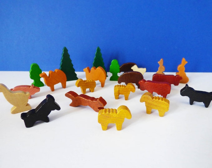 Vintage West German wooden wild and farm animals