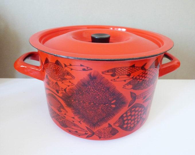 Finel Finland enamel stockpot / saucepan vintage