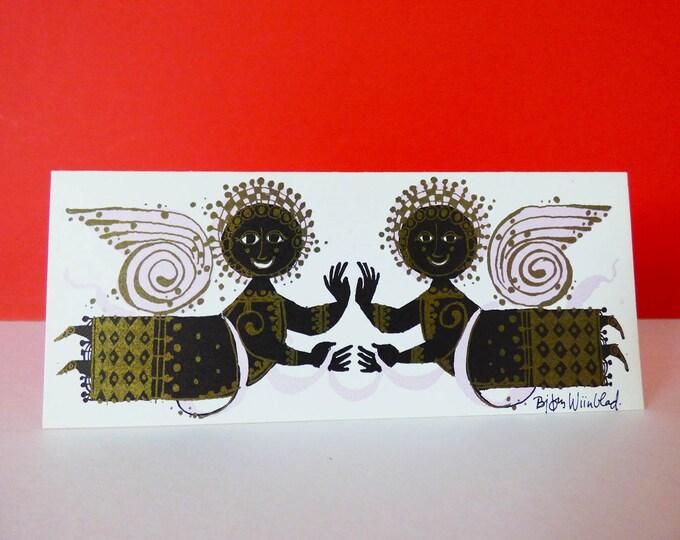 Bjorn Wiinblad 2 Angels mini card  Greetings card