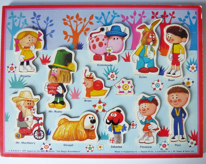 Vintage wooden Magic roundabout tray puzzle