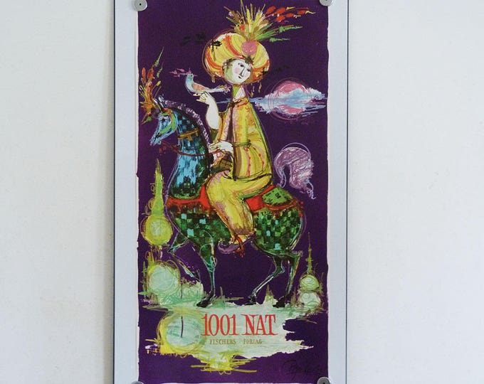 Bjorn Wiinblad, MCM, Original Poster, Danish Art, 1001 Arabian Nights, Bjørn Wiinblad