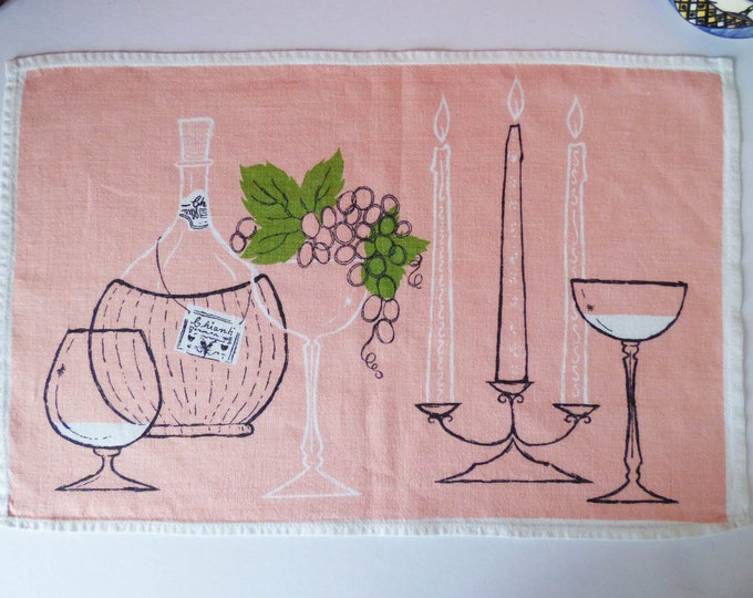 Vintage Scandinavian cotton printed place mat / wall hanging