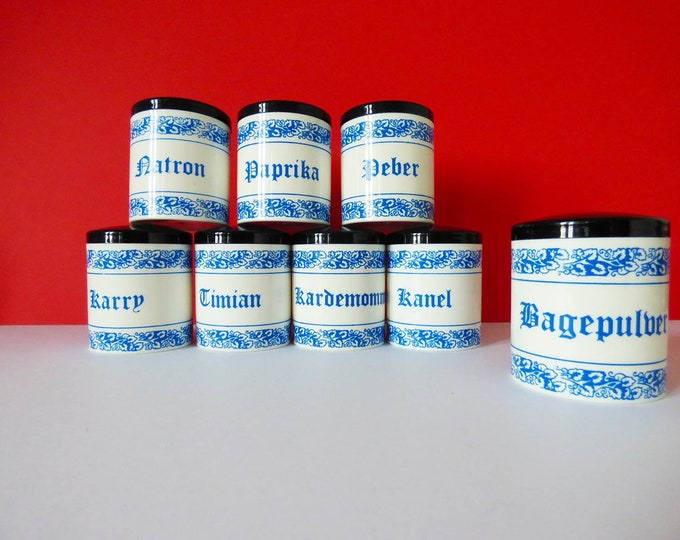 Vintage Danish Herb and Spice Jars