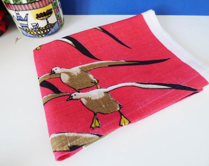 1960s Linen Geese tea towel