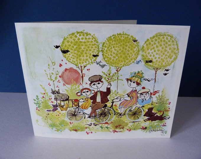 Bjorn Wiinblad Vintage Greetings Card 1965 MCM  Danish Art