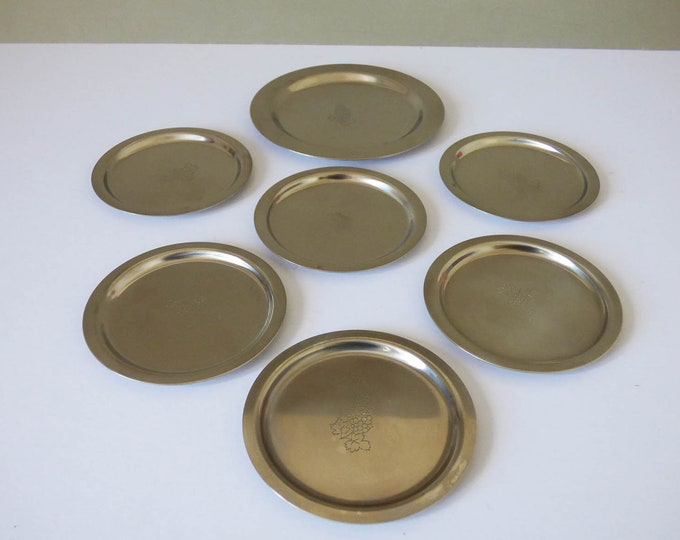 Vintage Danish Stainless steel coasters and wine bottle coaster
