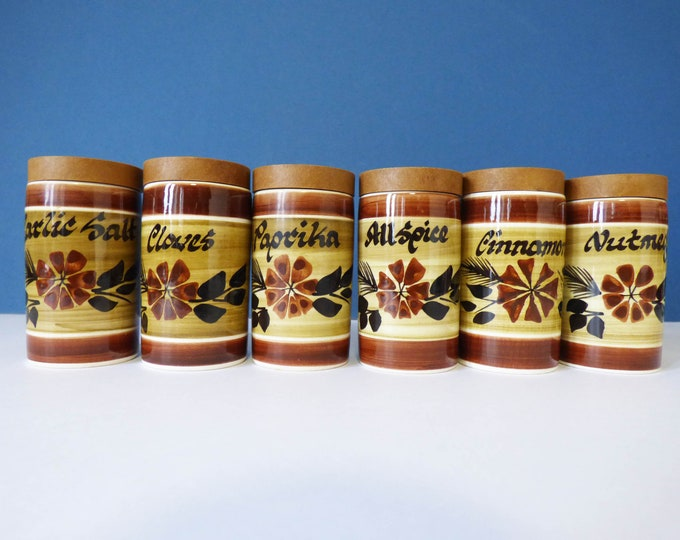 Raymond potteries herb and spice jars vintage