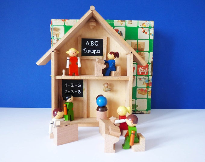wooden school by Sevi of Italy vintage wooden toy