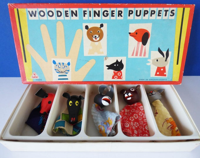 Vintage wooden finger puppets from Czechoslovakia