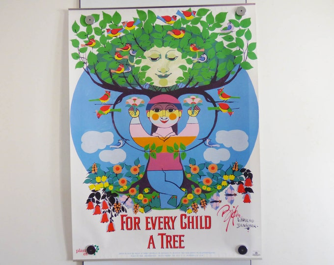Bjorn Wiinblad Poster For every child a tree Vintage Danish modernist print