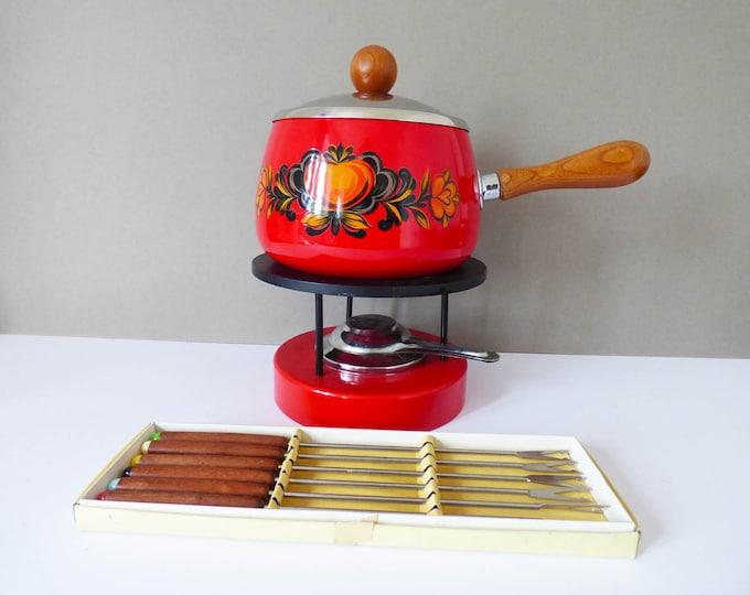 Fondue Enamel with teak fondue forks.