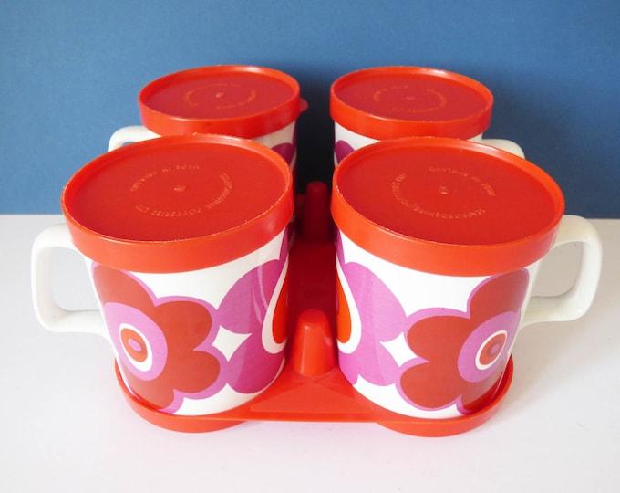 1970's flower power mugs - Staffordshire potteries