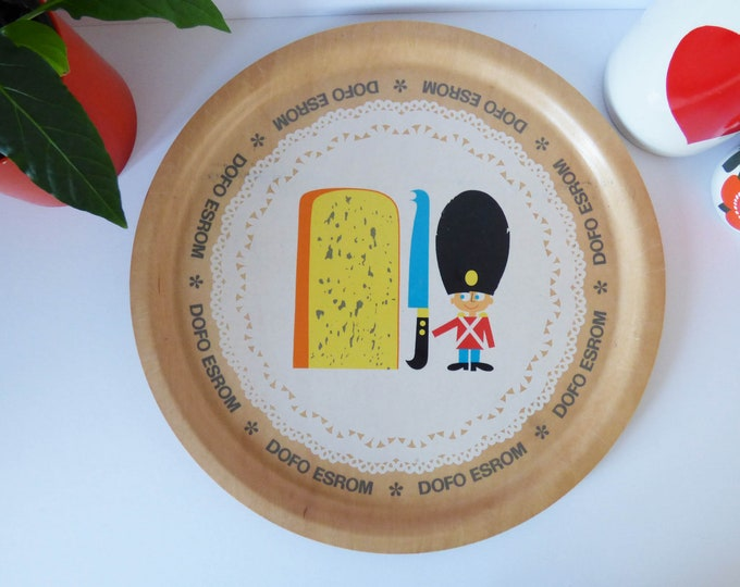 Vintage plywood tray advertising Dofo Esrom Danish Cheese