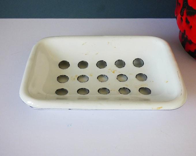 Vintage French Enamel salt pot