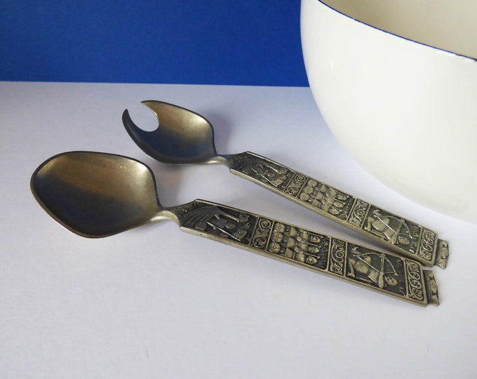Tinn pewter Salad servers from Norway
