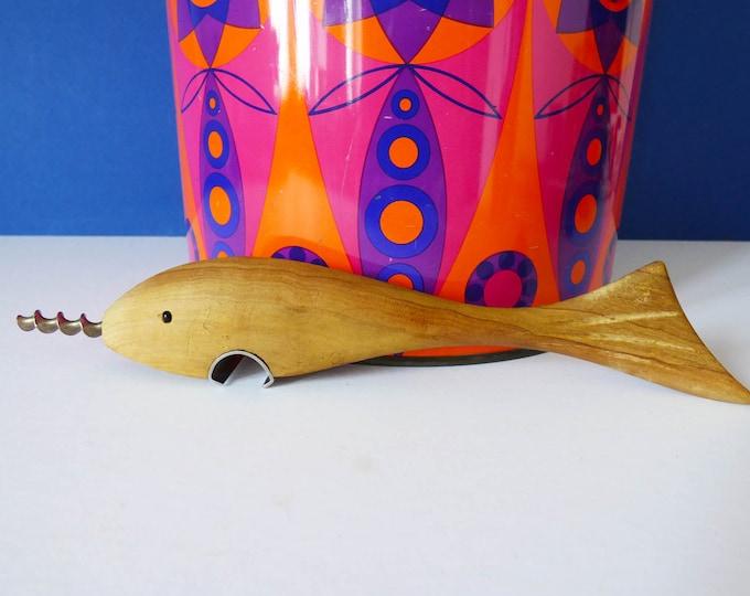 Vintage wooden shark / fish bottle opener and corkscrew