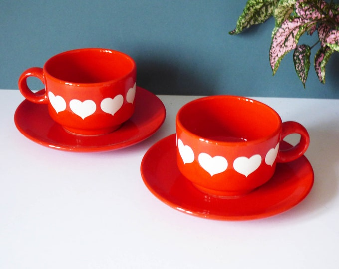 Vintage Waechtersbach cups and saucers heart design