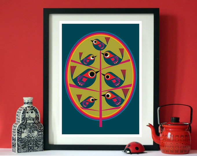 Tree life a bird print by Jay Kaye A4 or A3 print  Scandinavian modernist Style