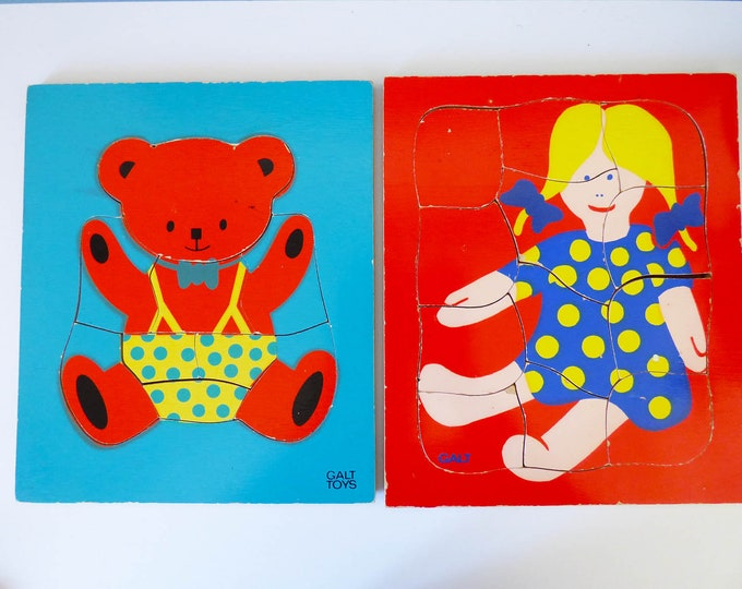 Vintage wooden Galt  bear and doll jigsaw puzzles