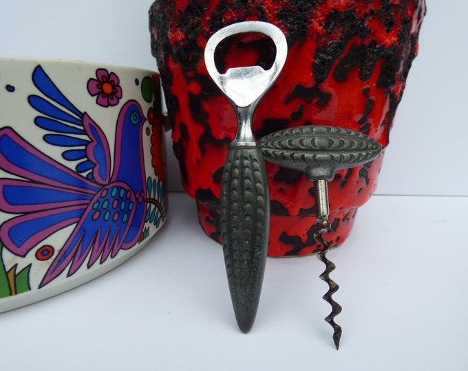 Brodrene Mylius 1960s Danish pewter Corkscrew and Bottle opener set
