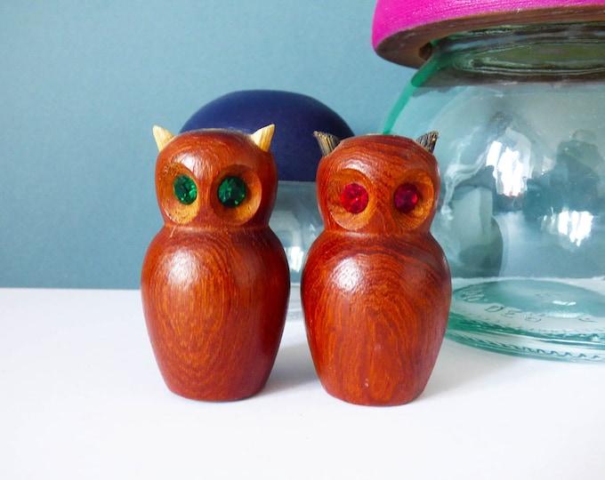 Vintage Teak owl salt and pepper pots